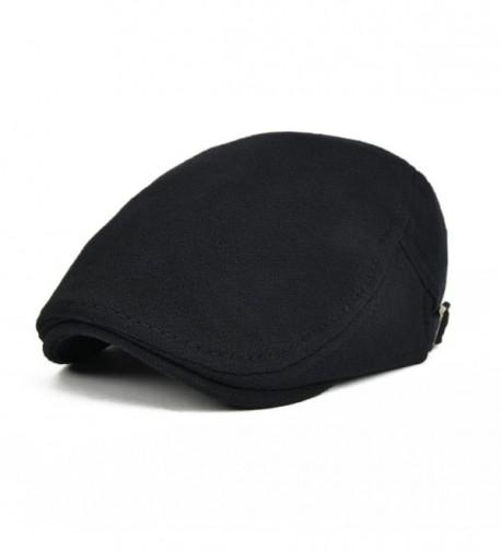 VOBOOM Men's Cotton Flat IVY Gatsby newsboy Driving Hat Cap - Black - CW17YCYYSUG