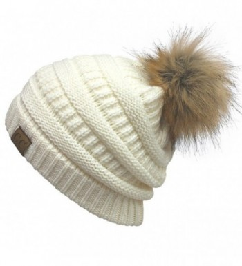 AMETS553 Knit Thick- Super Soft Fleece Lined Warm Pom Pom Beanie - White - CW189XNAI7S