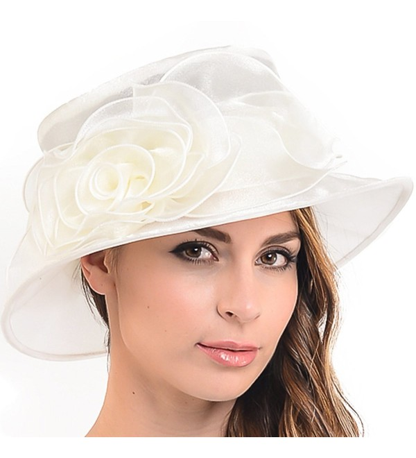 Women Floral Wedding Dress Tea Party Derby Racing Hat - Cream - CD12H97NNFH