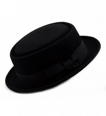 NYFASHION101 Mens Crushable Wool Felt Porkpie Hat w/Feather - Black - CH1190AVWBX