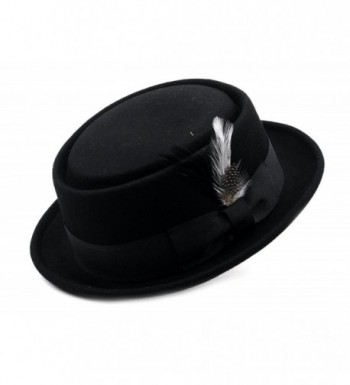 Mens Crushable Porkpie Feather HE09