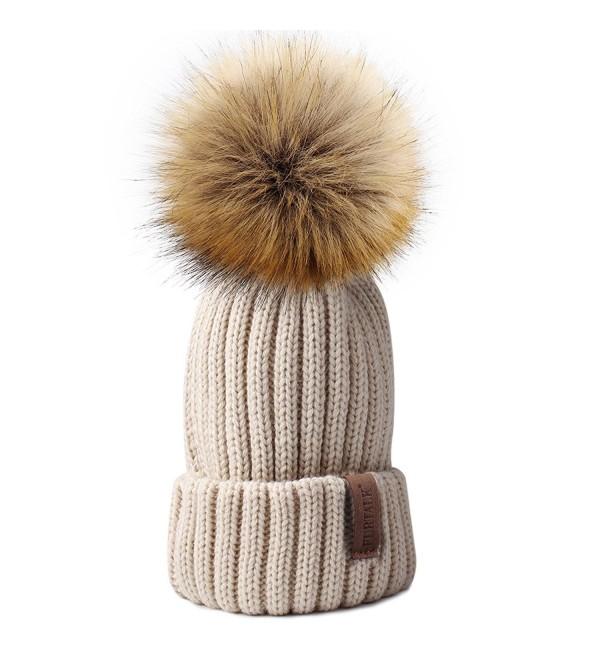 FURTALK Womens Knitted Winter Pom Beanie Hat Faux Fur Pom Pom bobble Hat beanie for girls - Beige - CJ185UEZLZ5