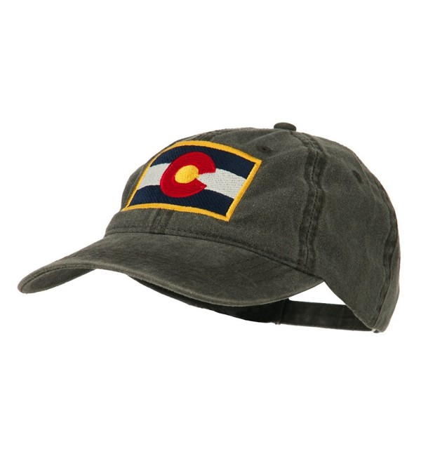Colorado State Flag Embroidered Washed Buckle Cap - Black - CH11Q3SXXZJ