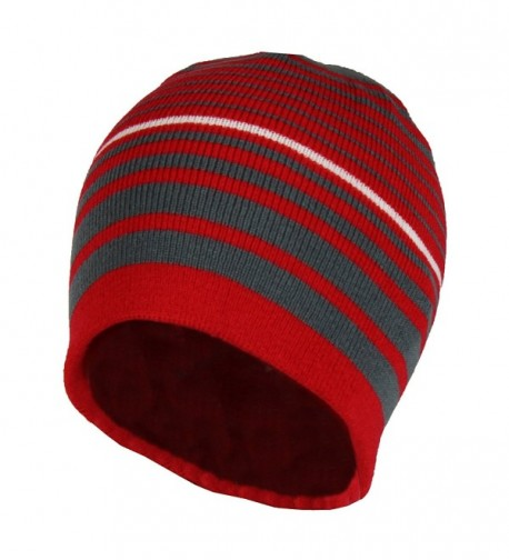 2 in 1 Reversible Striped & Solid Knit Beanie Hat - Winter Snug Fit Skull Cap - Red/Grey - CN186409H26