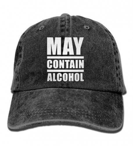 Unisex May Contain Alcohol Yarn-Dyed Denim Baseball Cap Adjustable Outdoor Sports Cap For Men Or Women - Black - CF187CX7QZQ