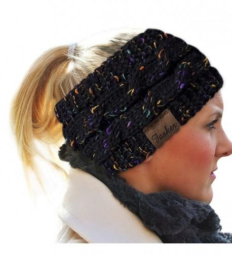 Fasker Womens CC Style Confetti Winter Cable Knit Headband Head Wrap Ear Warmer - Black - C51890GGYXD