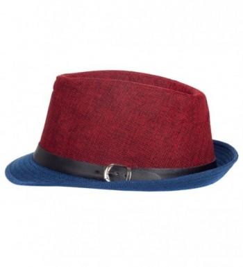 Aerusi Men's Fusion Straw Fedora Hat - Red Blue - CG128DICVSV