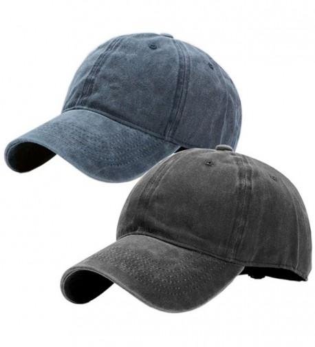 Vintage Washed Dyed Cotton Twill Low Profile Adjustable Baseball Cap - A-navy Blue+black - CK184UKUZUT