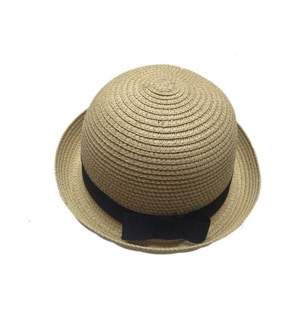 JTC Solid Kids Bowler Bow Short Roll Up Brim Sunhat Beach Cap Visor Prop Outfit - CI11KN49LNR
