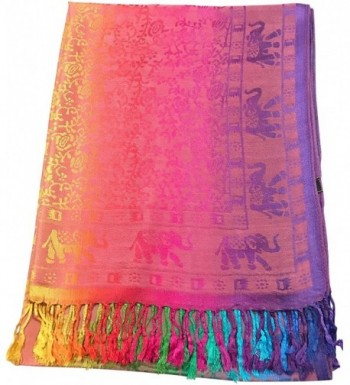 CJ Apparel Elephant Design Shawl Pashmina Scarf Wrap Stole Throw Seconds NEW - Light Pink - C212N7F8O0F