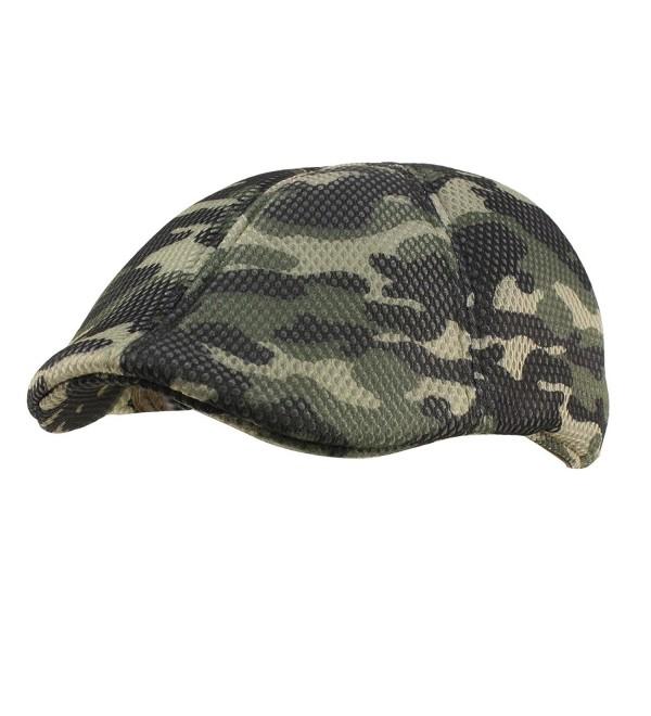 Mens Summer Mesh Camo Duckbill Flat Golf Ivy Driver Cabbie Sun Cap Hat M/L - Olive - C912EUJQ25Z