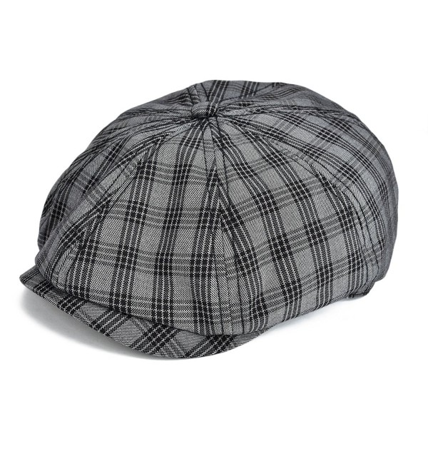 VOBOOM Plaid Cotton 8 pannnel Newsboy Caps Ivy Hat Cabbie Gatsby Hat MZ103 - Black - CJ1829WZ0MY