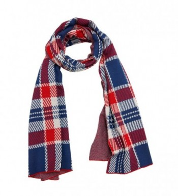 Knitbest Women's Checked Plaid Long Fashion Blanket Scarves Wrap Shawls - Red - CL12NBA632N