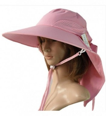JFS Womens Summer Outdoor UV Protection Sun Hat Travelling Hat with Flap - Pink - C812HIMR0ZH