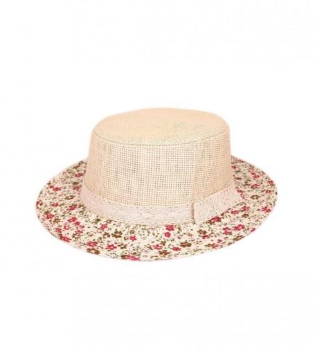 Lace Band Floral Brim Porkpie Straw Hat - C311KYEV5KD