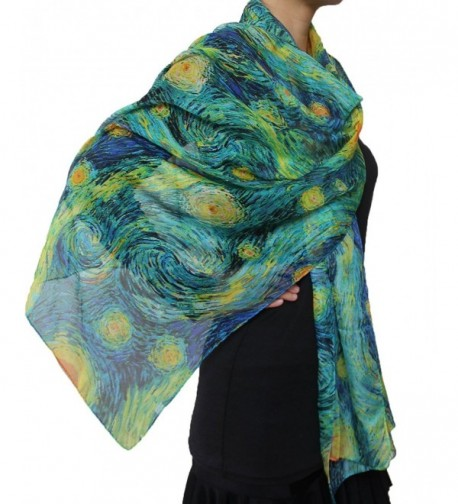 Seamaidmm Fabulous Starry Night Van Gogh Yellow Star Moon Print Chiffon Scarf Blue - CI1280AVA1T