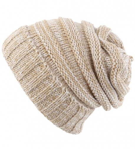Novawo Trendy Winter Warm Hats Slouchy Beanie Baggy Beanie Knit Hats For Women - Tan - C1187O3YH66