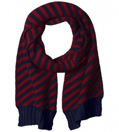 Nautica Women's Bias Stripe Knit Scarf - Navy/Wine - CV12KO8XVRN