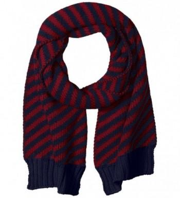 Nautica Women's Bias Stripe Knit Scarf - Navy/Wine - CV12KO8XVRN