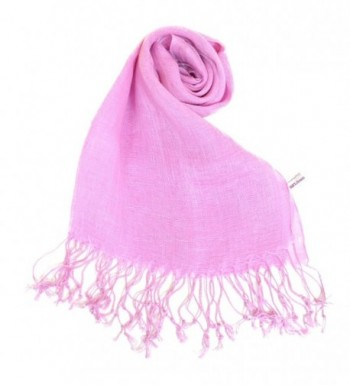 NEW COLORS Women's Linen Scarf Plain All Natural Eco Light Shawl - Pink Violet - C211DCQHATT