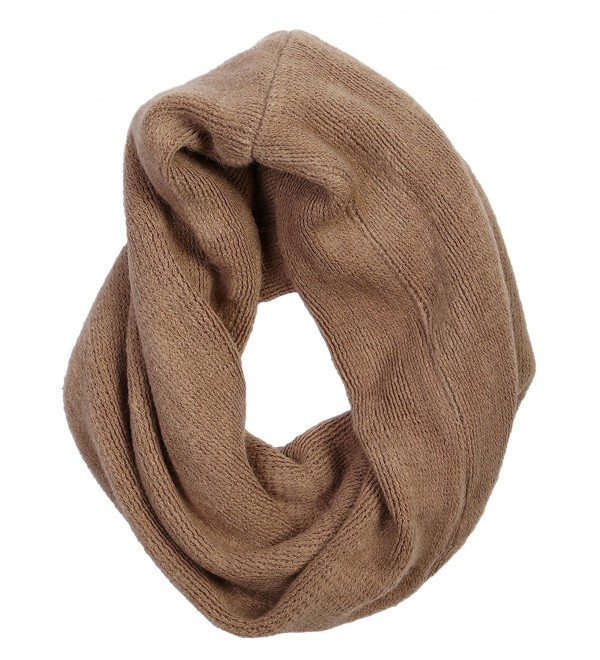 Funky Junque's Solid Color Cozy Knit Cowl Neck Warmer Twist Circle Scarf - Taupe - CV12K7QDX1B