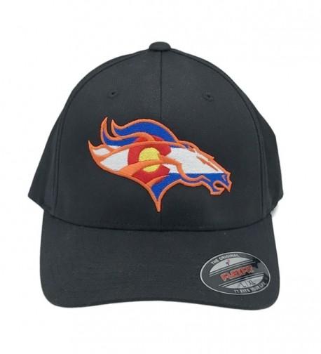 UNAMEIT Colorado Flag Bronco Hat 6277 Fitted Curved Bill Flexfit Hat - Black - CB12DXVG0CV