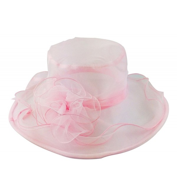 Nanxson TM Ladies Sun Hat Church Wide Brim Vintage Tea Party Wedding Flower Derby Cap - Pink - CW17YX6EXIC