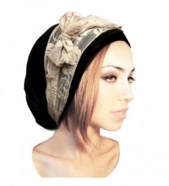 ShariRose Black Pre-Tied Head Scarf Boho Chic Bandana Tichel Vintage Cream Lace Wrap - 076 - CJ11XKXNKSF