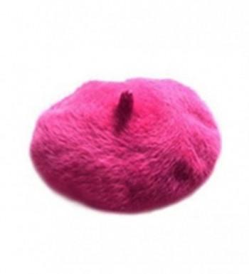 Polytree Womens Winter Warm French Artist Faux Rabbit Fur Beret Hats - Rose-Red - CJ12MZWOI5M