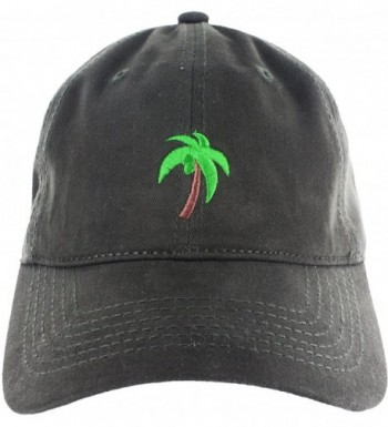 Palm Tree Hat Dad Hat Coconut Tree Embroidered Adjustable Baseball Cap - Dark Green - C312ICHKN2T