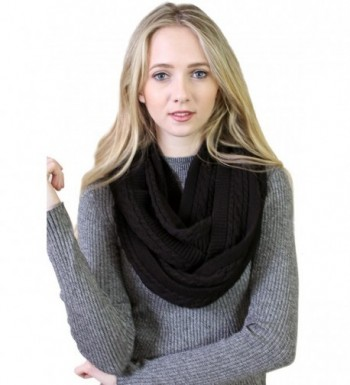 (10 COLORS) Women's 100% Organic Cotton Cable Knit Infinity Scarf- Super Soft Stretch Warm Non-Toxic - Black - CB189582EE2
