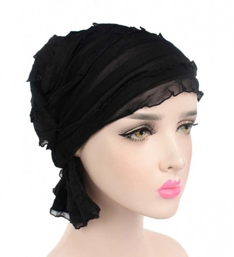 EachWell Women Pleated Ruffle Stretch Turban Hat Hair Wrap Cover Up Sun Cap - Black - CT185OUR89N