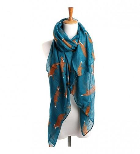 CreazyLady Womens Long Cute Fox Print Scarf Wraps Shawl Soft Scarves - Light Blue - C6129PTU9TZ
