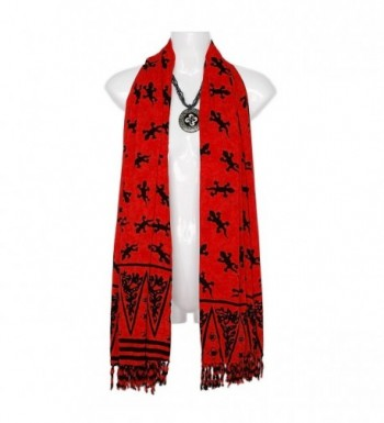 1WS Womens Gecko Double Wide Scarf - in your choice of colors - Red - CD11586GIMR