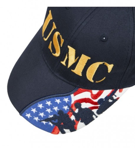 Army Force Gear Embroidered Marine Corps USMC Baseball Cap Hat- With American Flag - Navy Blue - CL1897W2N0U
