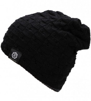 Zenco Men / Women's Winter Handcraft Knit Dual-Layered Slouchy Beanie Hat - Black - CG12846OMBB
