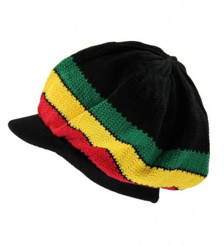 NY Knit Cotton Beanie Visor - Black/Rasta - CE18C97Z3SH