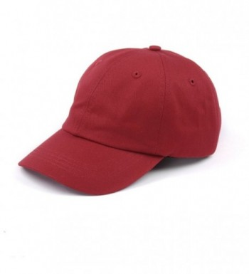 100% Cotton Plain Baseball Caps Unstructured Adjustable Men Women Hats - Dark Red - C2182GC6ZE5