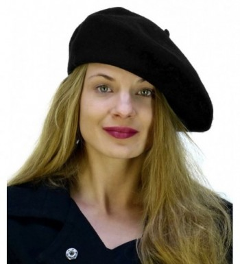 Black Wool Beret Parisian CoverYourHair in Women's Berets
