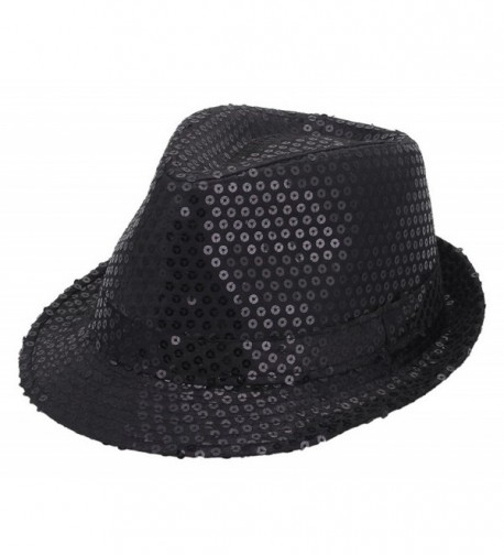 Jtc ACVIP Men Women Sequin Fedora Panama Hats Party Paillettes Cap Sun Jazz Hat 8 Colors - Black - C0122UIACC1