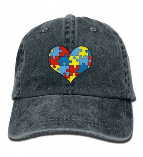 Autism Awareness Heart Vintage Washed Dyed Cotton Twill Low Profile Adjustable Baseball Cap Black - Navy - CR187645H5O