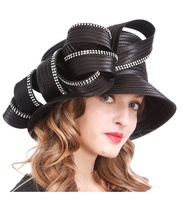 VECRY Womens Tea Party Church Baptism Kentucky Derby Dressy Hat - Rhinestone-black - CR18C3HZ3ZG