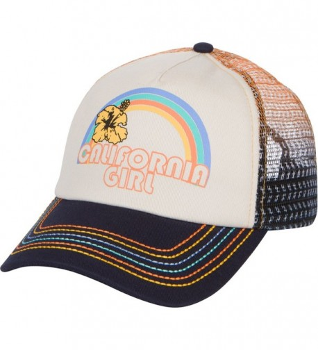 California Girl Trucker Snapback Hat - Vintage Cream With Rainbow Stitching - C01839MEX6K