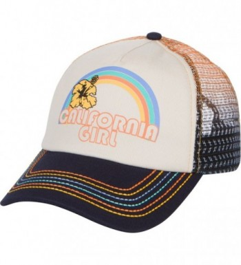 California Girl Trucker Snapback Hat - Vintage Cream With Rainbow Stitching - C01839MEX6K