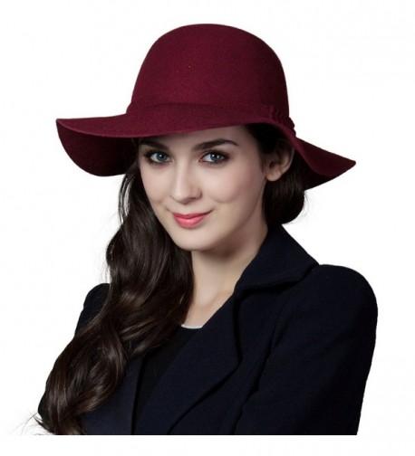 SIGGI Ladies Wool Felt Top Hat Wide Brim Winter Vintage Fedora Hats Thick Warm - 16078_burgundy - CR12MZHZS9C