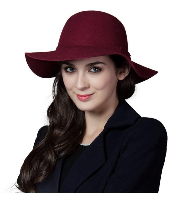 74fa51a2012 SIGGI Ladies Wool Felt Top Hat Wide Brim Winter Vintage Fedora Hats Thick  Warm - 16078_burgundy