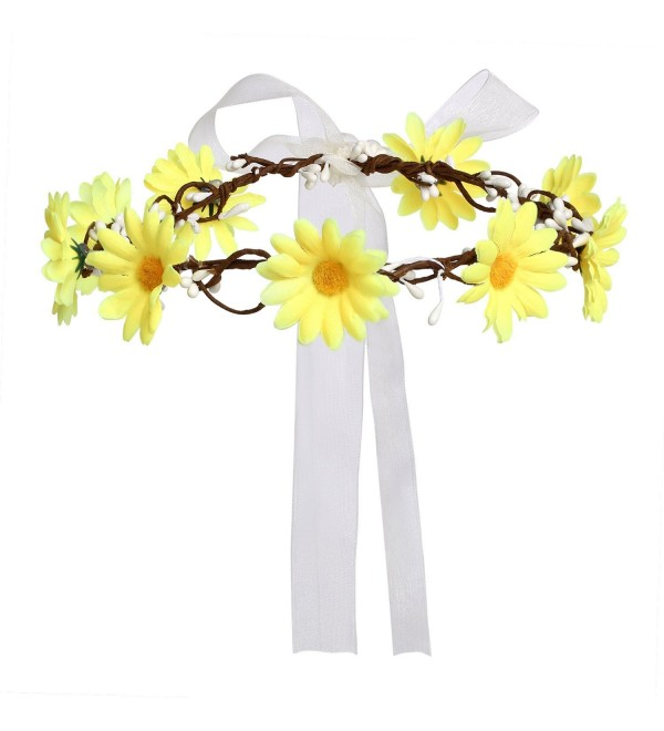 Merroyal Daisy Flower Headband Crown with Adjustable Ribbon for Wedding Festivals - Yellow - CO12NRDJ9NQ
