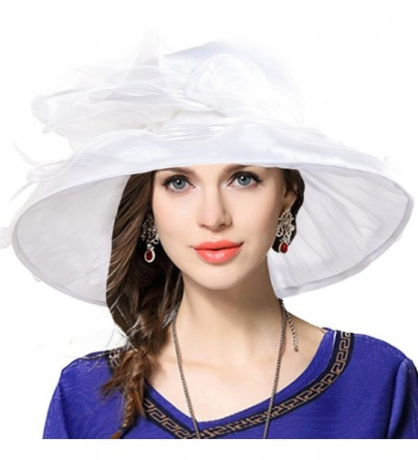 Ladies Tea Party Derby Racing Church Hat Cocktail Formal Occasion Hat - White - CL12MGHUWZJ