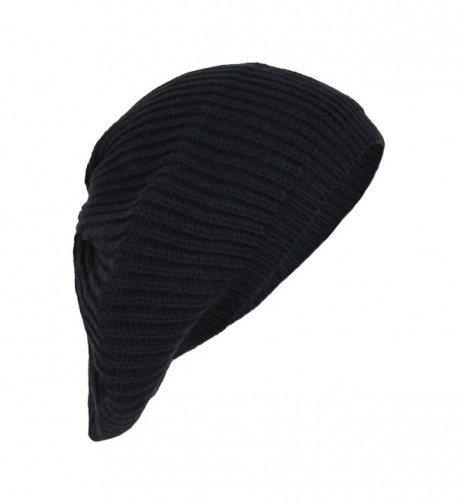 Elliott and Oliver Co. Cute Boho Cable Ribbed Knit Slouch Beret Cap- Chic Slouchy Beanie Winter Hat - Black - C9186I8Z6KG