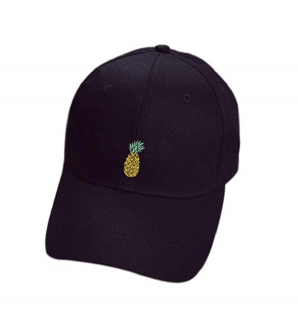 TOOPOOT Hip-Hop Cap- Unisex Men and Womens Pineapple Baseball Hats Adjustable Peaked - Black - C3184K7DGMQ